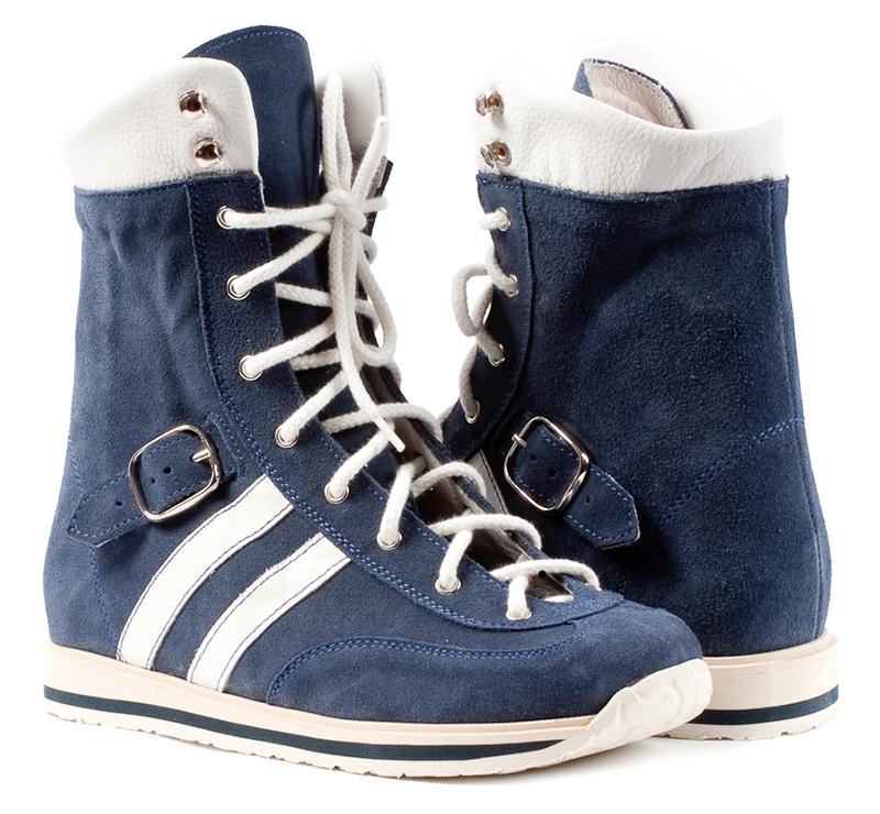 03359765b Memo Sprint 1CH - Ортопедические ботинки для детей с ДЦП Синий нубук ...